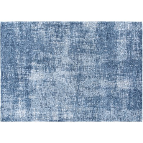 Blue Rug with Jacquard Motifs 140x200