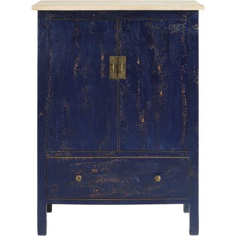 Blue Solid Mango Wood 2-Door 1-Drawer Cabinet Shibori