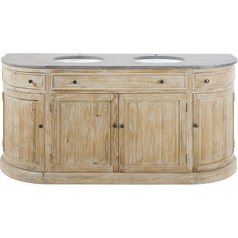 Blue Stone and Recycled Pine Double Vanity Unit Leonce