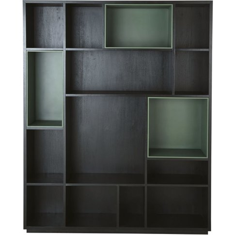 Bookcase With 4 Black And Green Removable Compartmen...