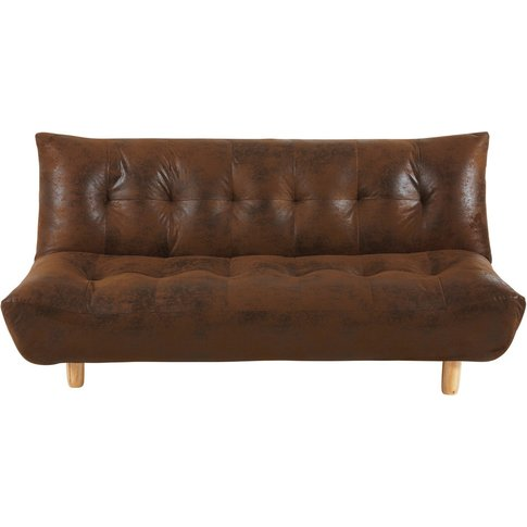 Brown 3-Seater Microsuede Sofa Bed Cloud
