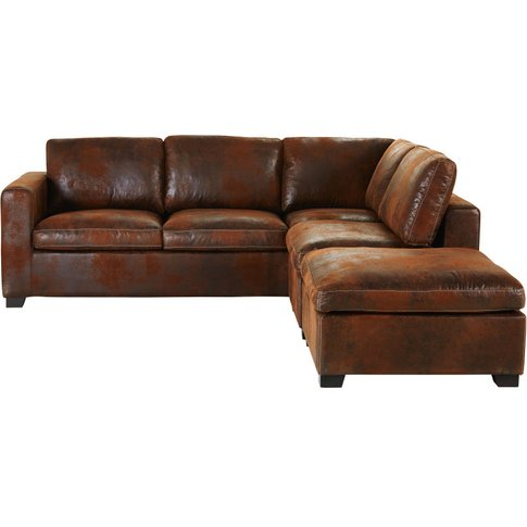 Brown 5-Seater Microsuede Right-Hand Corner Sofa Bed...