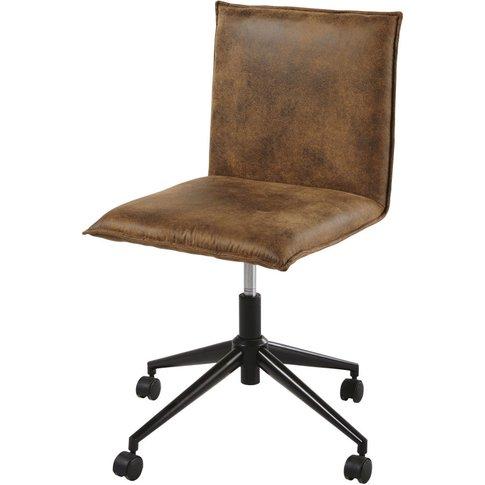 Brown Faux Suede Desk Chair On Castors Atelier Hype