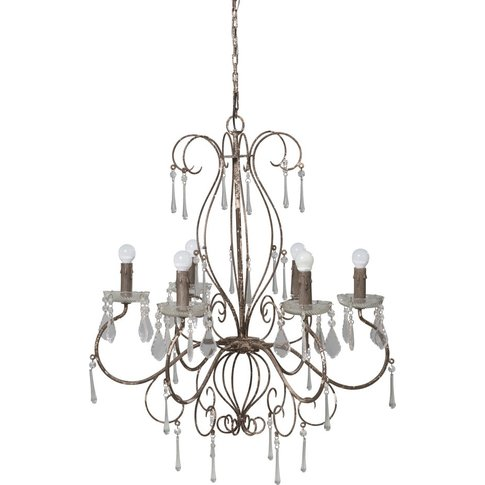 Brown Metal Drop Bead Chandelier
