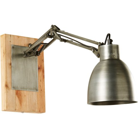 Brushed Metal And Mango Wood Adjustable Wall Lamp