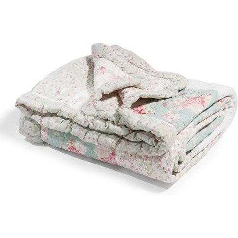 CAMÉLIA cotton floral quilted bedspread in green and...