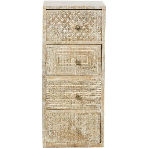 Carved Mango Wood 4-Drawer Small Storage Unit