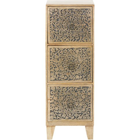 Carved Mango Wood Small 3-Drawer Storage Unit