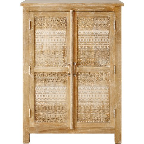 Carved Solid Mango Wood 2-Door Cabinet Varanasi