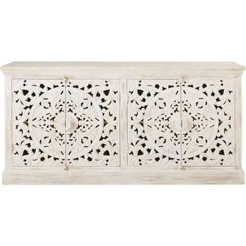 Carved White Solid Mango Wood 4-Door Sideboard Kerala