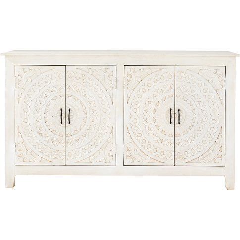 Carved White Solid Mango Wood 4-Door Sideboard Mannar