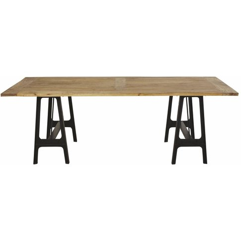 Cast Iron And Mango Wood 8-10 Seater Dining Table W2...