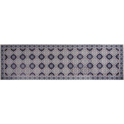 Cement Tile Motif Vinyl Rug 60 x 199