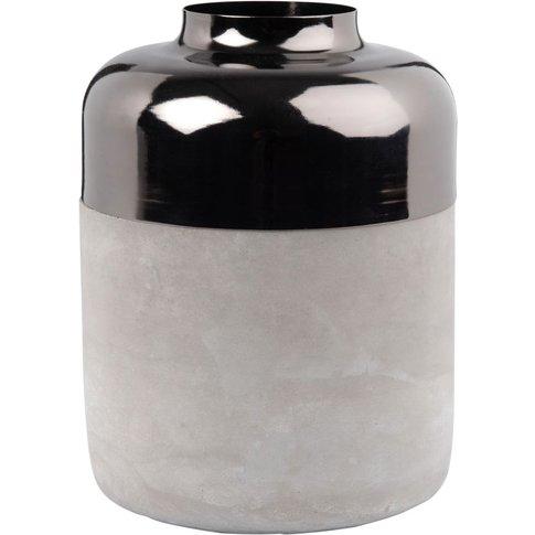 Cement Vase with Chrome Metal Edge H20