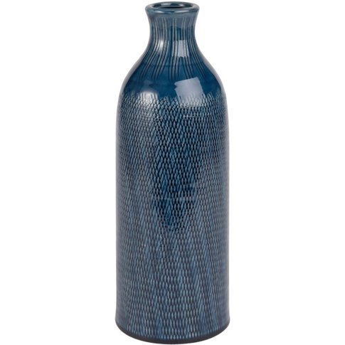 Ceramic Demijohn Vase With Blue Textured Print H30