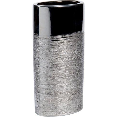 Ceramic Oval Vase In Silver H 26cm