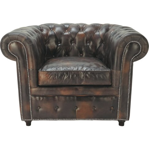 Chesterfield Leather Button Armchair In Mocha Cheste...