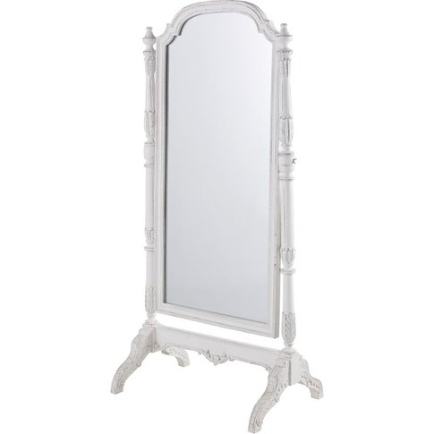 Cheval Mirror In White Mango Wood With Mouldings 83x169