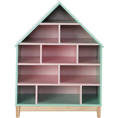 Children House Bookcase In Green And Pink Berlingot