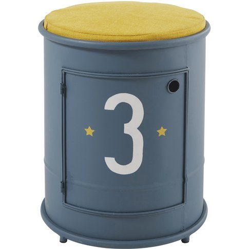 Children's Blue Metal Bedside Table And Chair Petit ...