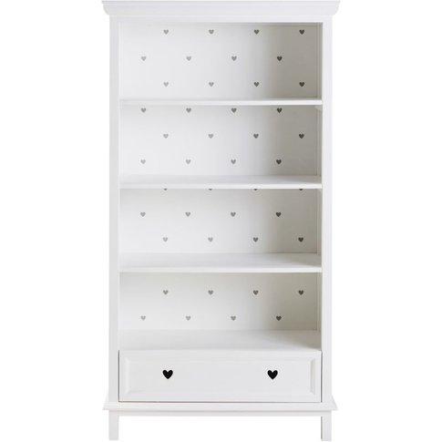 Children's Grey Hearts Print 1-Drawer Bookcase Mila