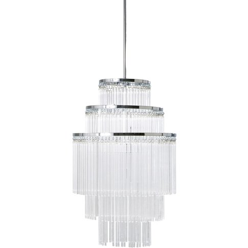 Chrome Metal And Glass Drop Bead Chandelier