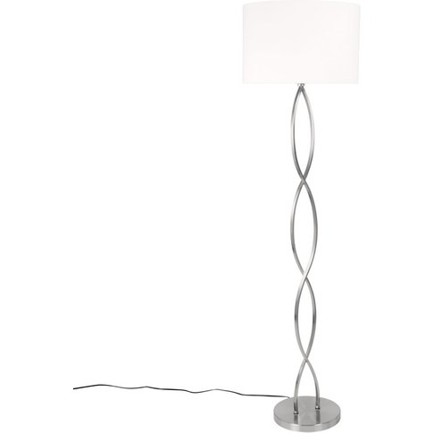Chrome Metal Floor Lamp With Cream Shade H149