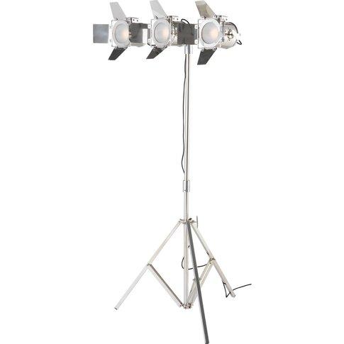 Chrome Metal Tripod Floor Lamp With 3 Spotlights H 1...