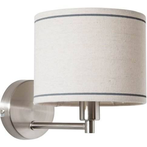Chrome Metal Wall Lamp With Cream Shade
