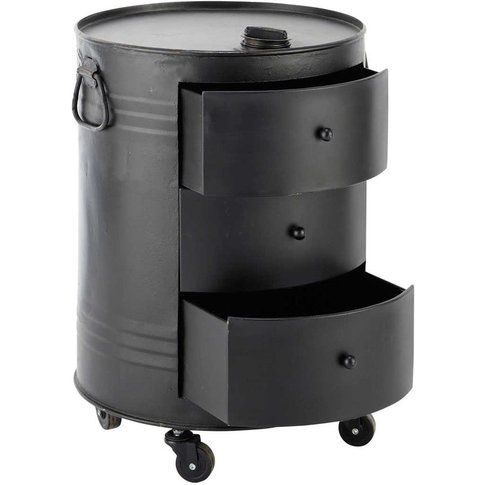 Clark Metal Can Side Table In Black W 42cm