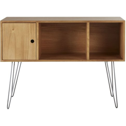 Console Table With 3 Compartments And Grey Metal Leg...