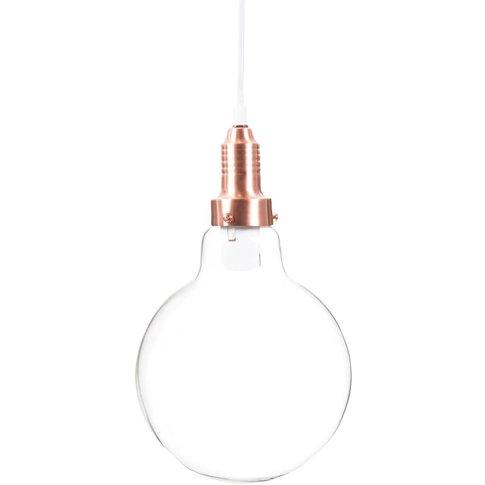 Copper Glass And Copper Metal Light Bulb Pendant Lamp