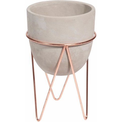 COPPER wrought iron and cement footed planter