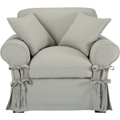 Cotton armchair in light grey Butterfly