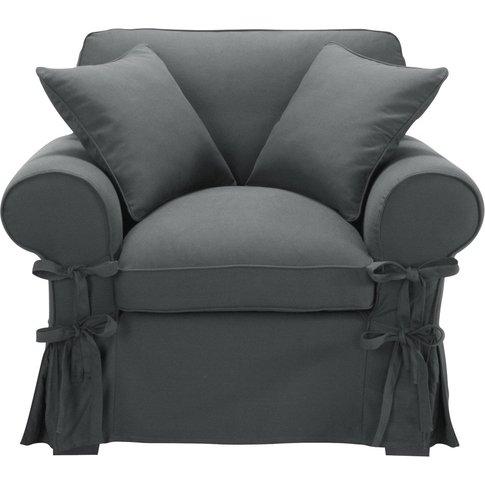 Cotton armchair in slate grey Butterfly