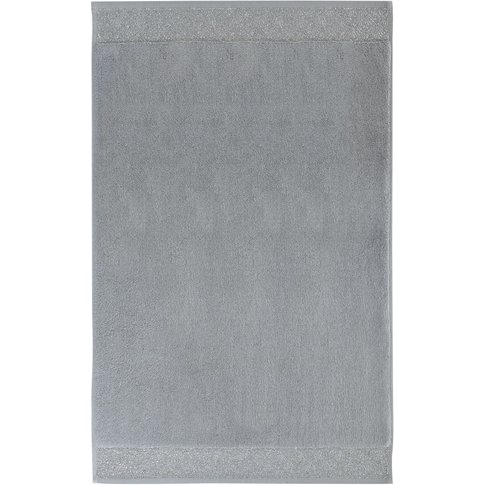 Cotton Bath Mat in Anthracite Grey and Silver 50x80