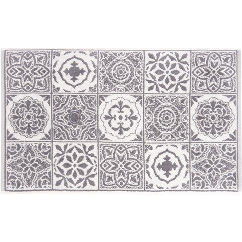 Cotton Bath Mat With Cement Tiles Motif 50x80