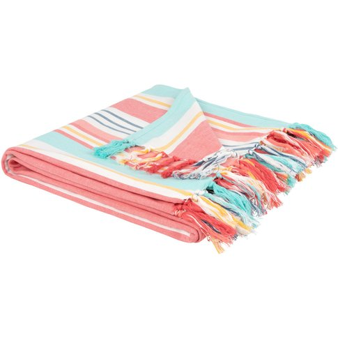 Cotton Blanket With Stripe Print 160x120