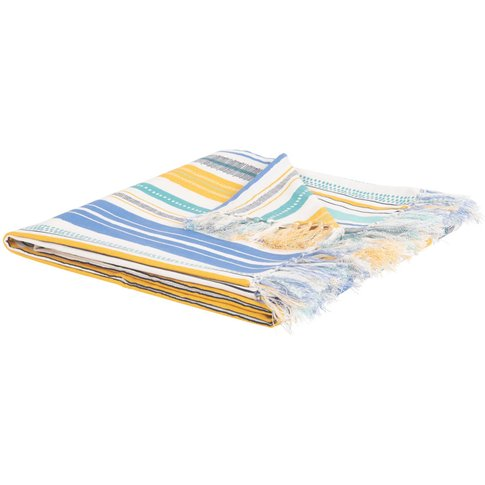 Cotton Blanket with Stripes and Print 160x210