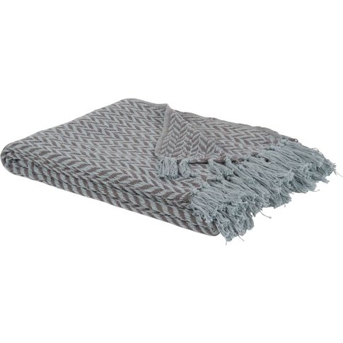 Cotton Blanket With Woven Grey And White Jacquard He...