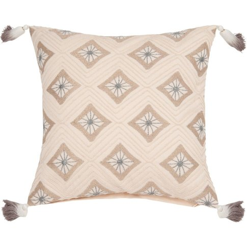 Cotton Cushion Cover With Embroidered Design 40x40