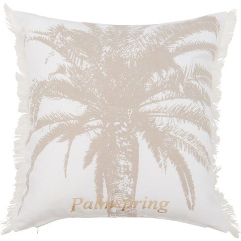 Cotton Cushion Cover With Gold Palm Tree Print 40x40