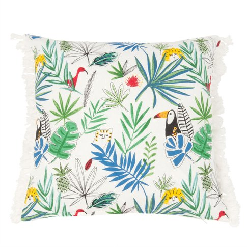 Cotton Cushion Cover With Jungle Print 40x40