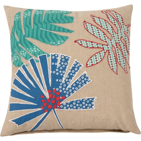 Cotton Cushion Cover With Leaf Print 40x40