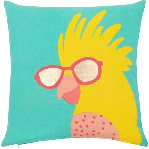 Cotton Cushion Cover with Parrot Print 40x40