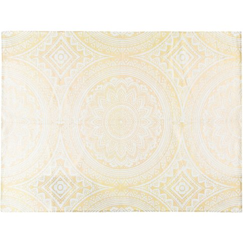 Cotton Rug With Golden Graphic Motifs 140x200