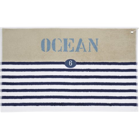 Cotton Stripe Bath Mat In Blue 50 X 80cm