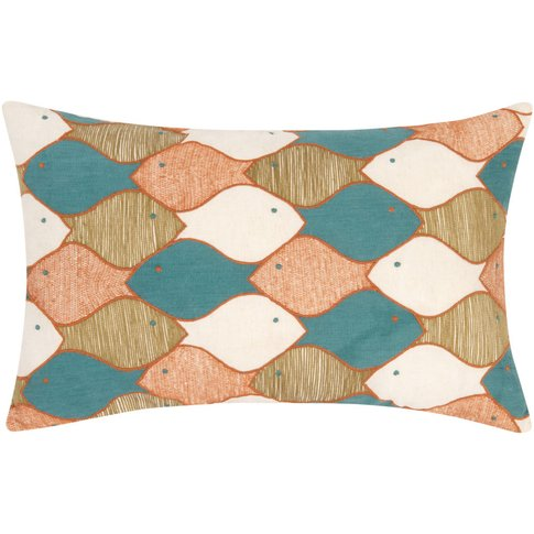 Cushion With Multicoloured Fishes Pattern 35x55
