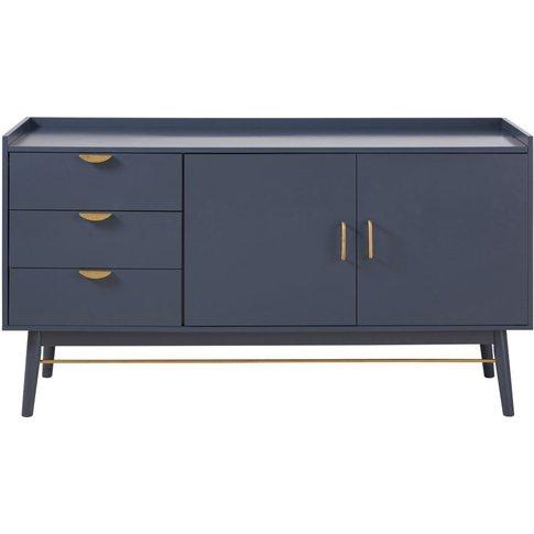 Dark Blue 2-Door 3-Drawer Sideboard Penelope