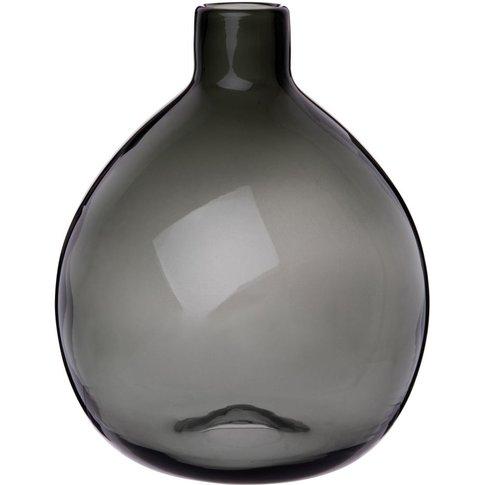 Dark Grey Tinted Glass Bowl Vase H26